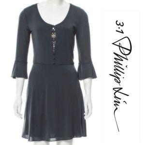 NWOT Phillip Lim Slate 3/4 Sleeve Silk Mini Dress
